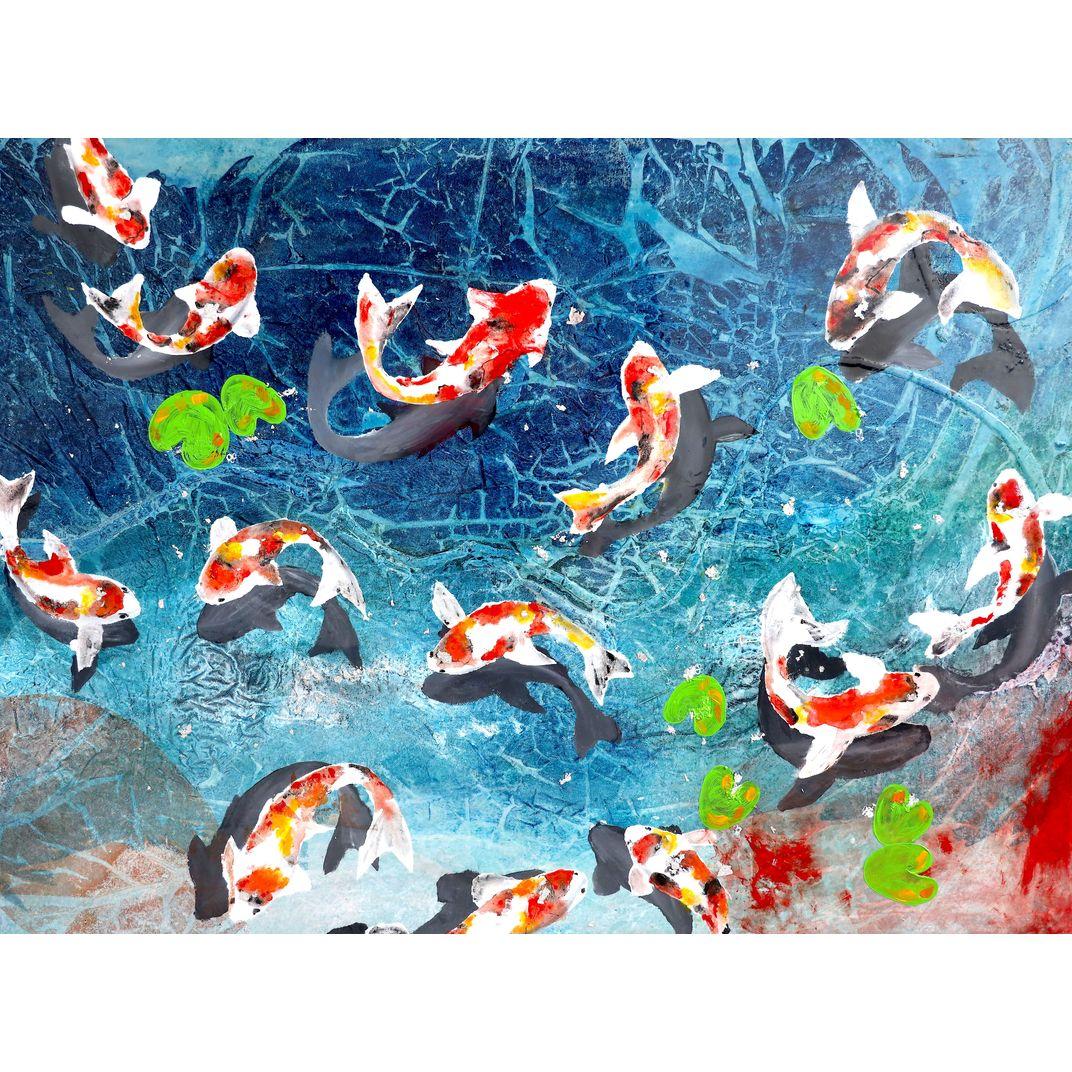Koi fish by Poovi Art