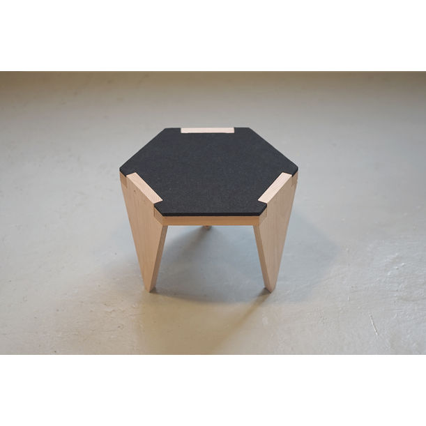 Hexa wood low stool_black by Project-J