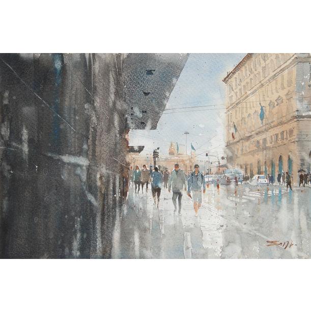 Wet Reflections - Rome by Sanjeewee Senevirathna