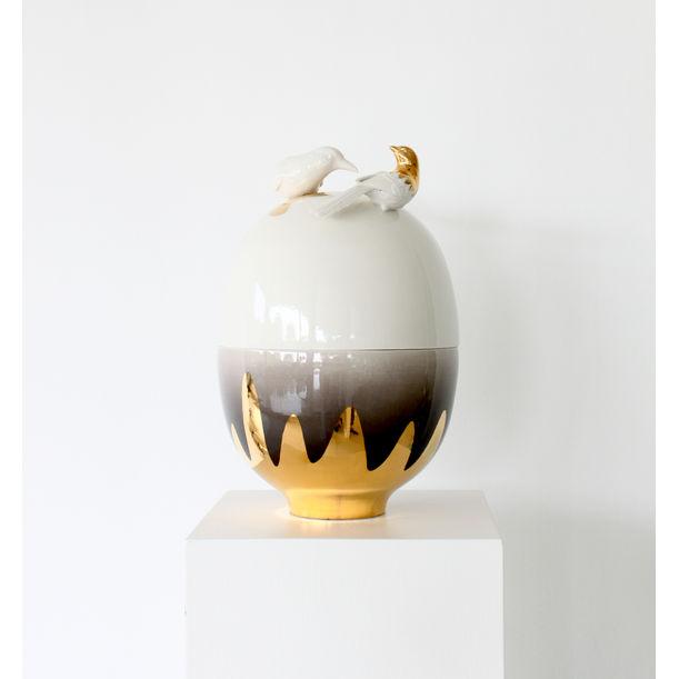 Egg Vessel Gold Birds / medium by Mari JJ Design