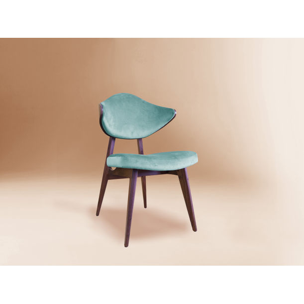 H chair - American walnut & velvet by Dovain Studio
