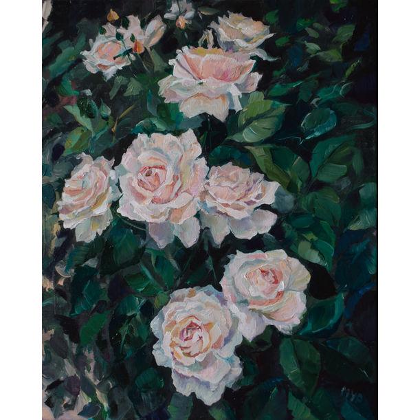 White Rose Bush by Marina Urchukina