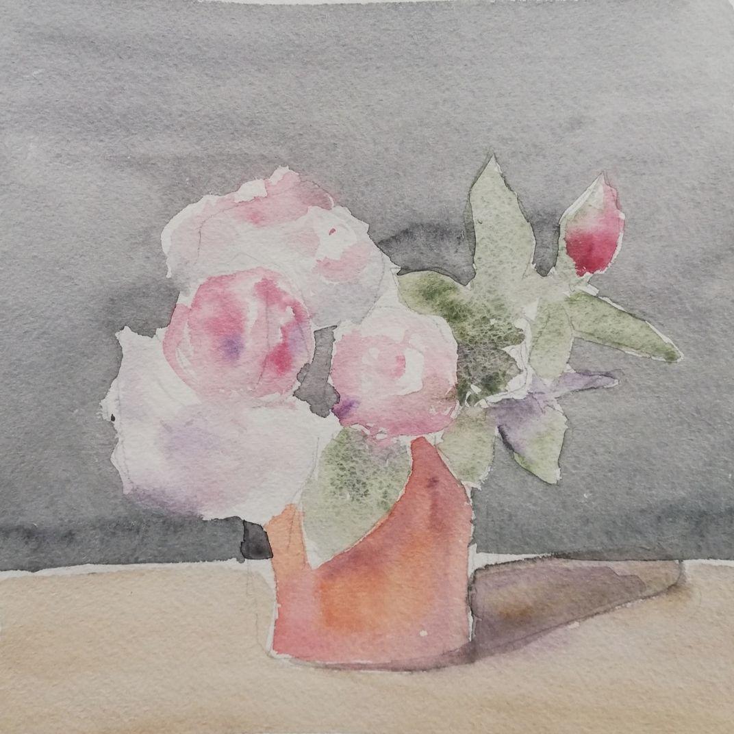 Roses in a Terracotta Pot by Yaroslava Tichshenko