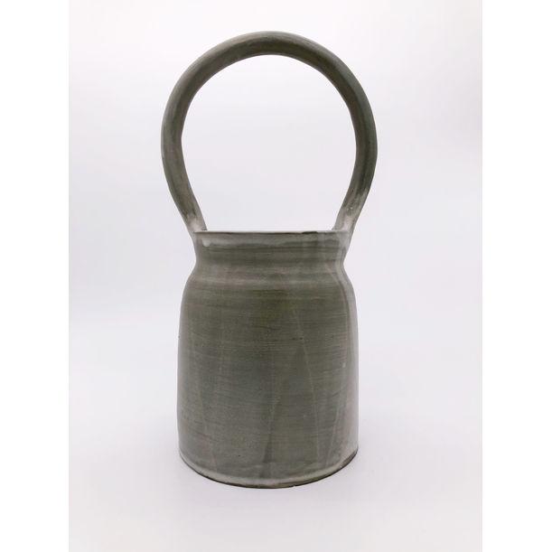 Green churn vase by Solenne Belloir