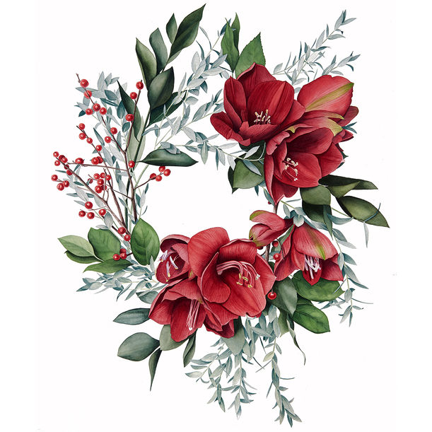Amaryllis wreath by Kristine Rapohina