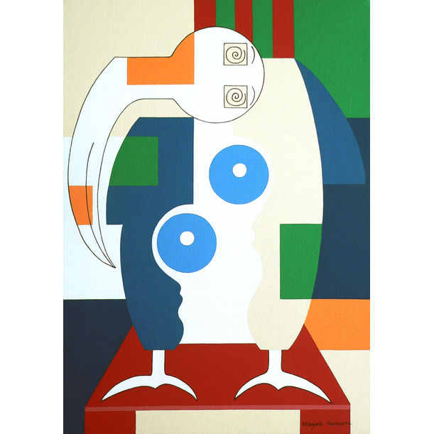 Bird sitting on a red chair by Hildegarde Handsaeme