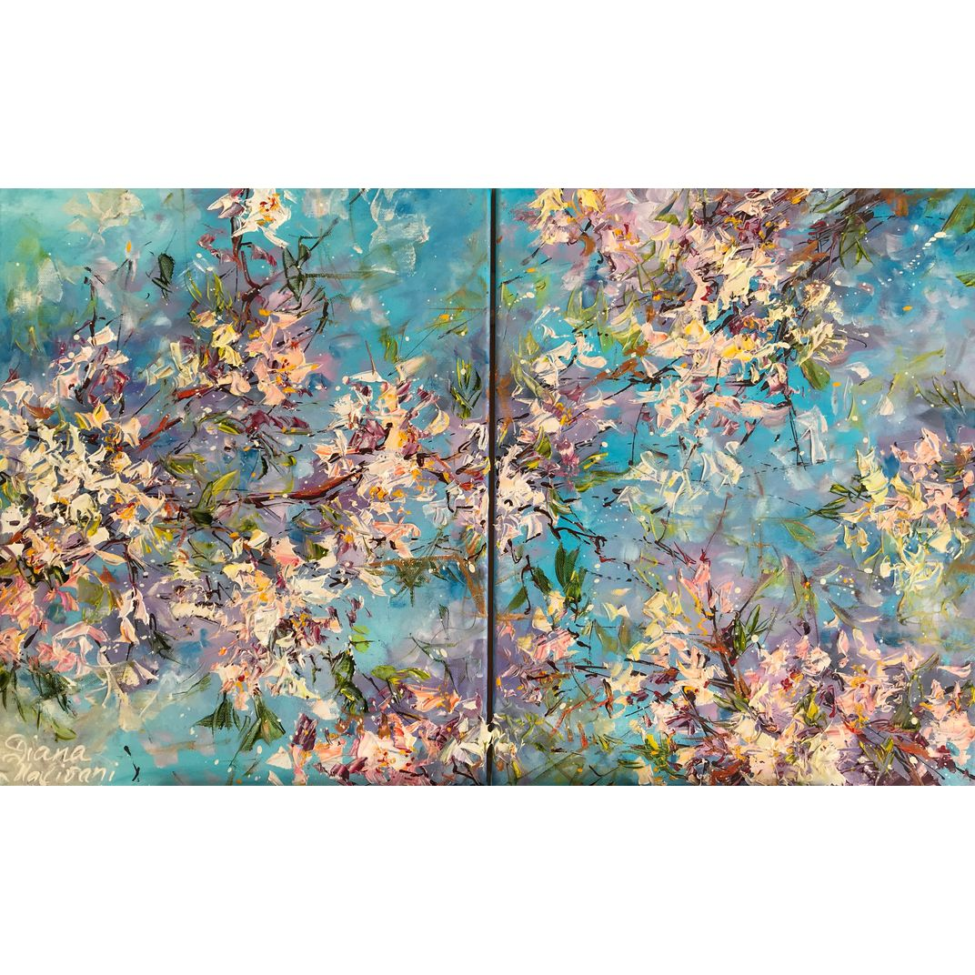 Blooming Almond Tree. Diptych by Diana Malivani