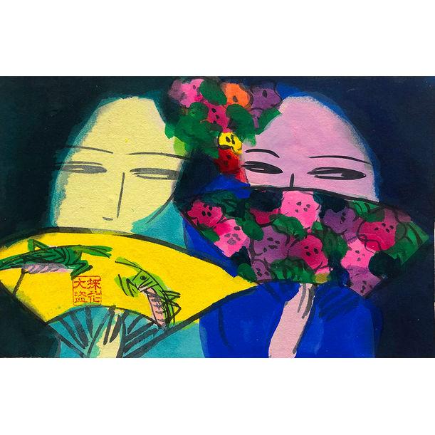 Two Girls Gosiping by Walasse Ting
