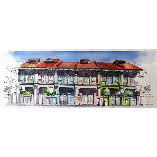 Peranakan shophouses on Koon Seng Road by Michael Persch