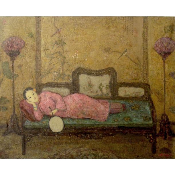 Femme A L'éventail Sur Canapé by Jia Juan Li