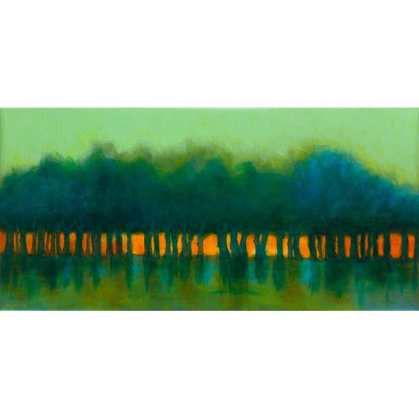 Trees in dusk with green sky by Fabienne Monestier