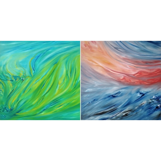 """Spring green"" and ""Red sunset on the sea"" Diptych by Davide De Palma"