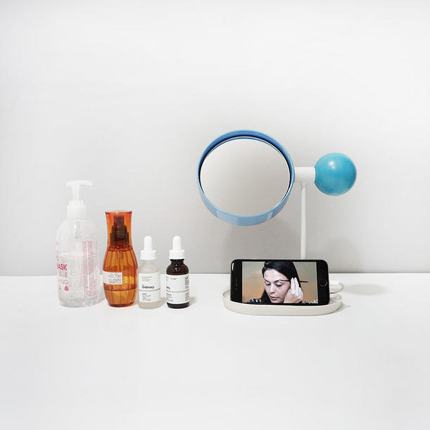 Ball Tabletop Mirror (Blue/Blue/White) by Rcube Design Studio