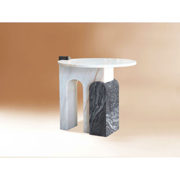 Stone marble side table - White and Ruivina marble by Dovain Studio