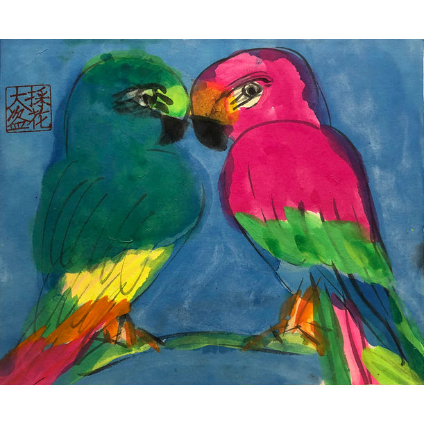 Green and Red Love Birds by Walasse Ting