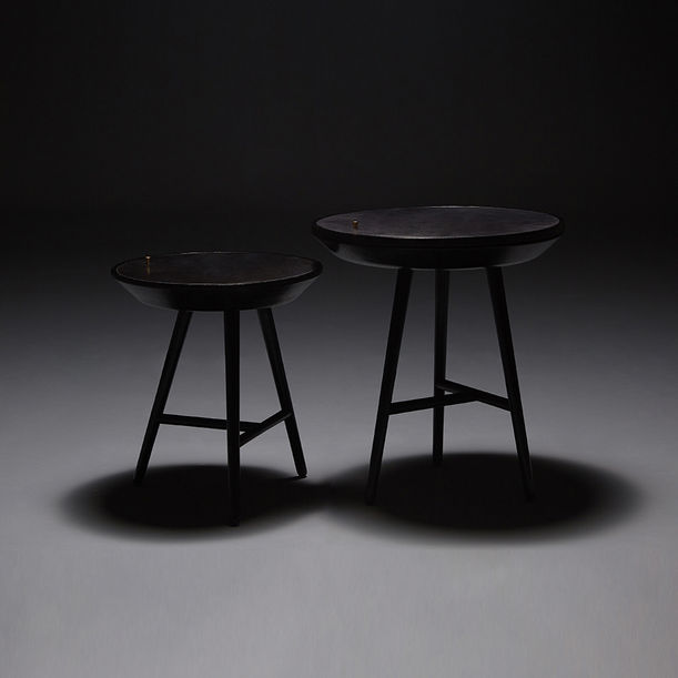 Black Dream Whirl Side Table(small) by Sheng Yin