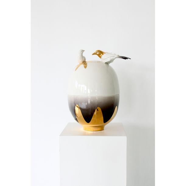 Gold Bird Egg Vessels / medium by Mari JJ Design