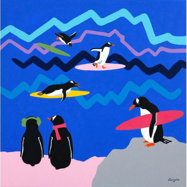 Surfer penguins by Georgina Leow Gray