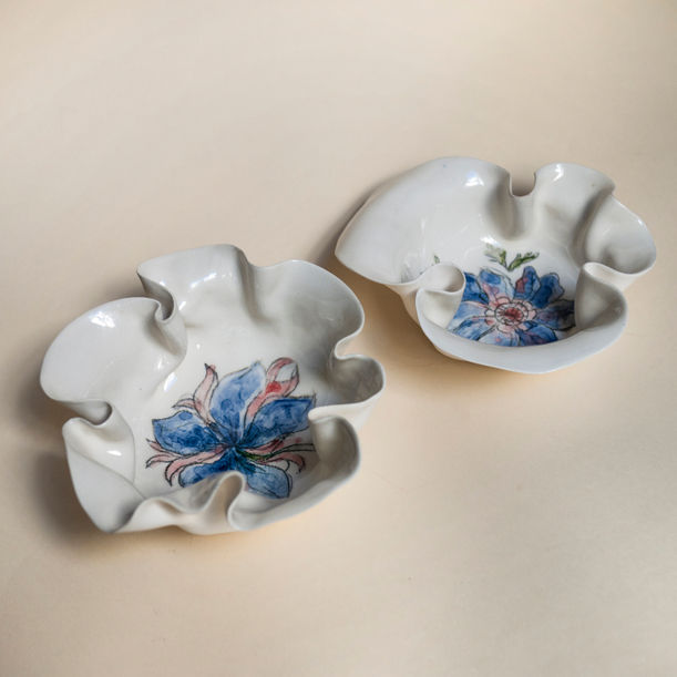 A Pair of Anemone Primavera Bowls by Maryia Virshych