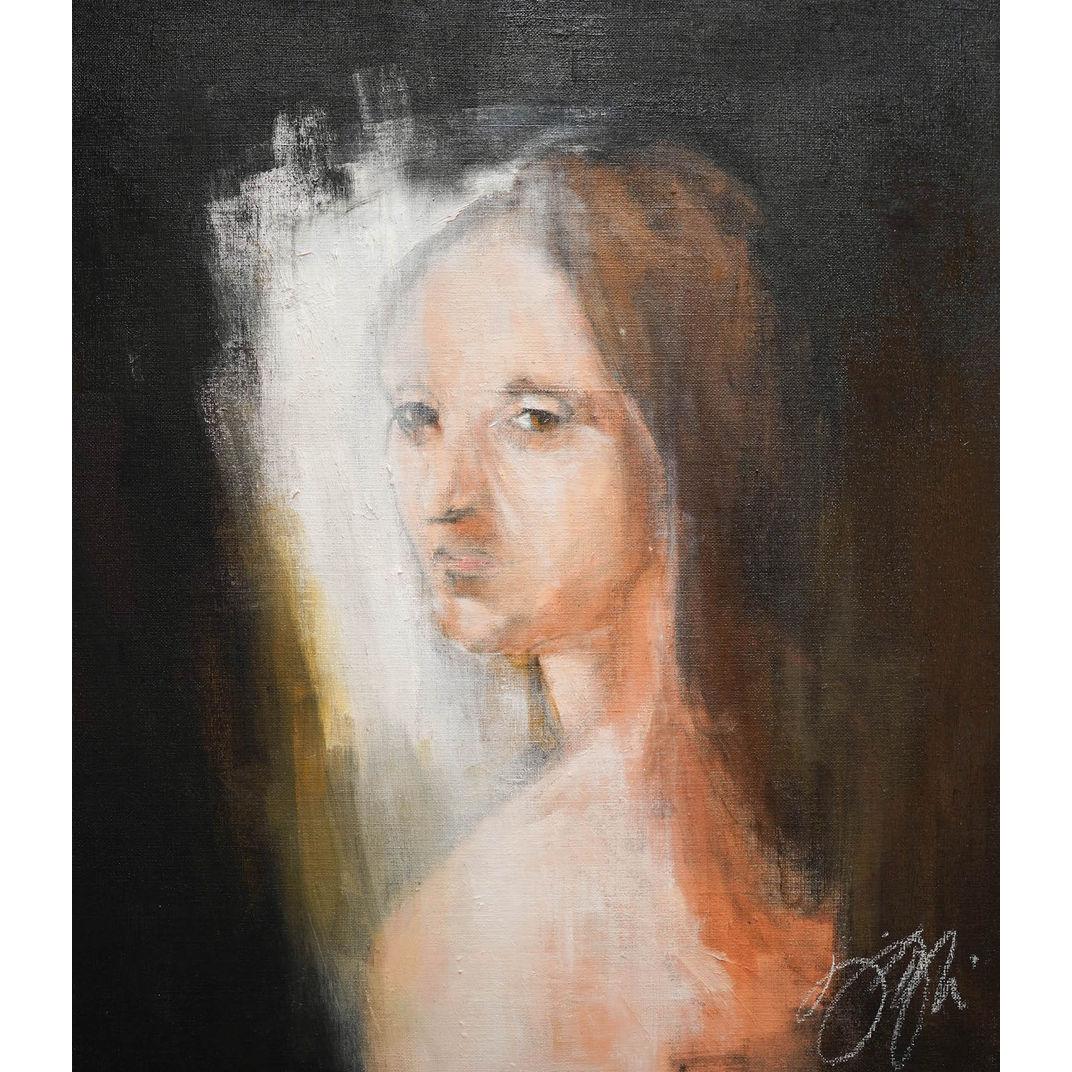 Head of a Young Woman contemporary after Leonardo da vinci by Tomoya