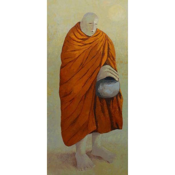 Monk walking for alms by Ta Thimkaeo