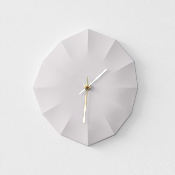 Click Clock L | White with Brass Hands by Ayako Aratani