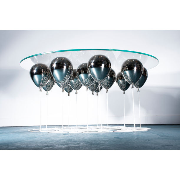 UP Balloon Coffee Table Round (Silver) by Duffy London