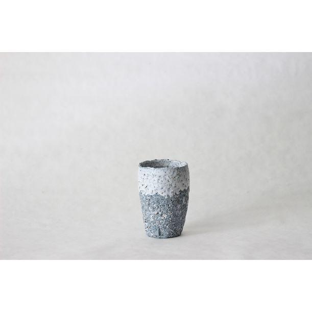 Terrazzo blue clay cup by Evgeniia Kazarezova