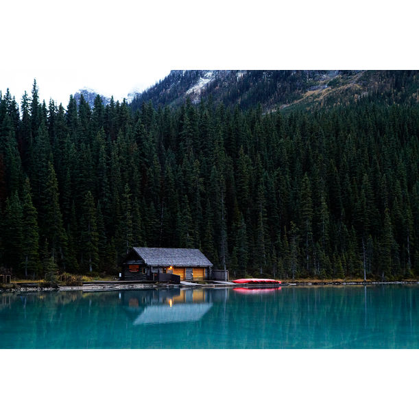 Boat House, Lake Louise by Ty Mecham