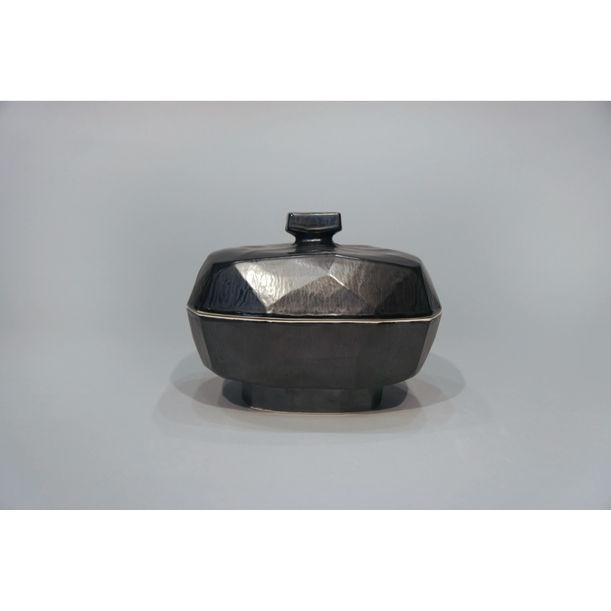 Rectangular Lidded Form with Knob Medium Black by Yikyung Kim