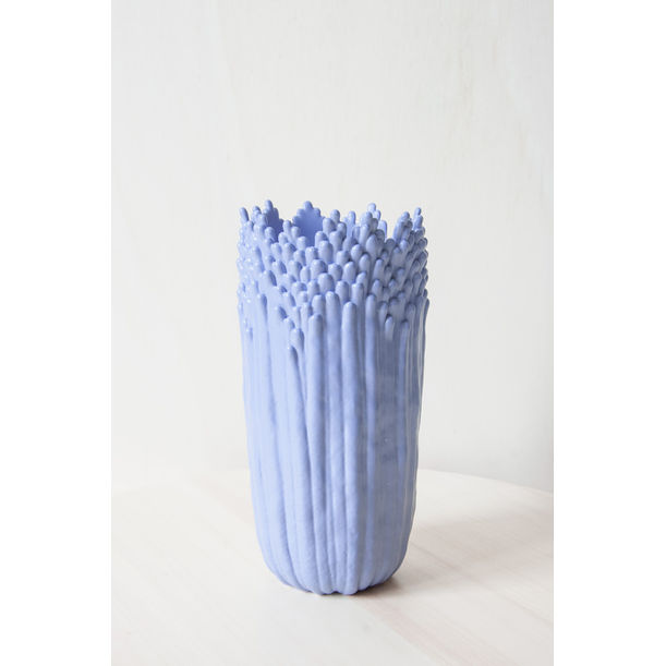 Blooming floral ascending vase - lavender blue by Cecile Bichon