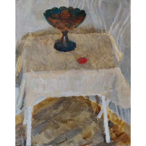 Still life with a vase and a red sponge by Samir Rakhmanov