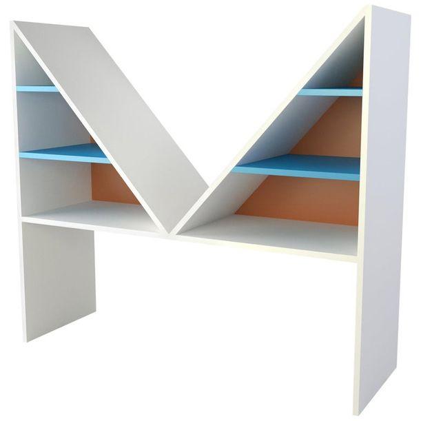 Contemporary Bookcase Bikini White Lacquered Wood by Chapel Petrassi