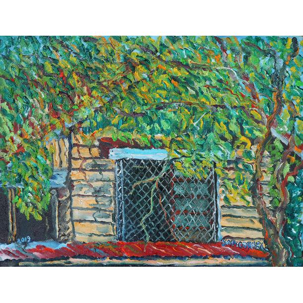 Casita Amarilla con Arbustos by Jose Mari Picornell