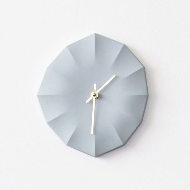Click Clock L | Ice Gray with Brass Hands by Ayako Aratani
