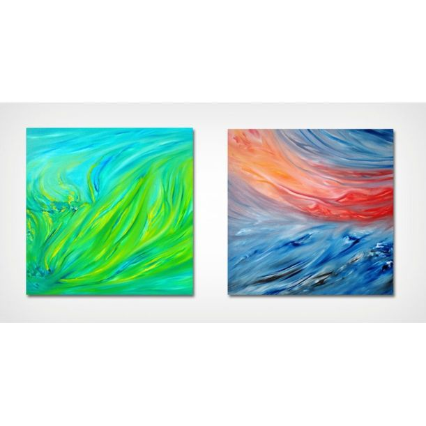 """""""Spring green"""" and """"Red sunset on the sea"""" Diptych by Davide De Palma"""
