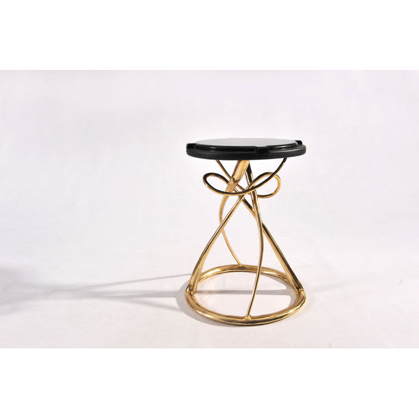 Hourglass Side Table (Black) by Apiwat Chitapanya