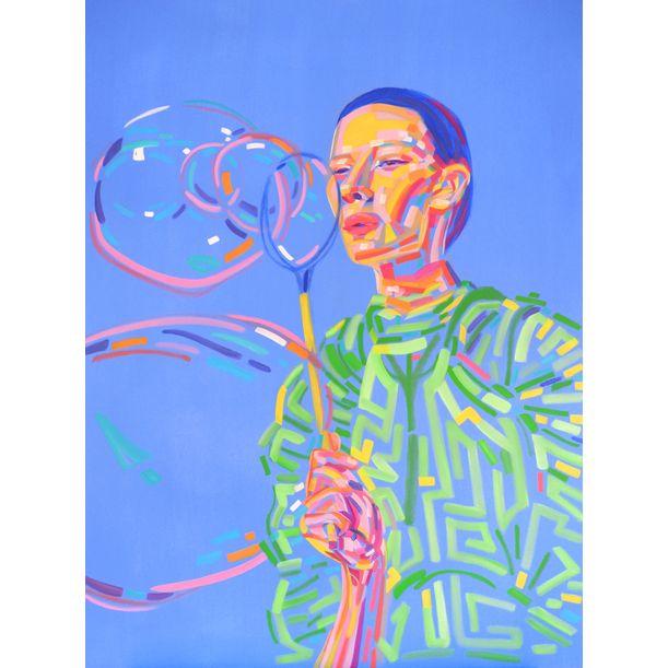 Blowing Soap Bubbles by Van Lanigh