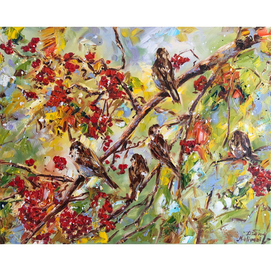 Sparrows in the Rowan-Tree by Diana Malivani