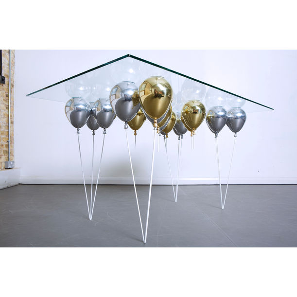 The Up Balloon Dining Table (Mixed Gold and Silver) by Duffy London