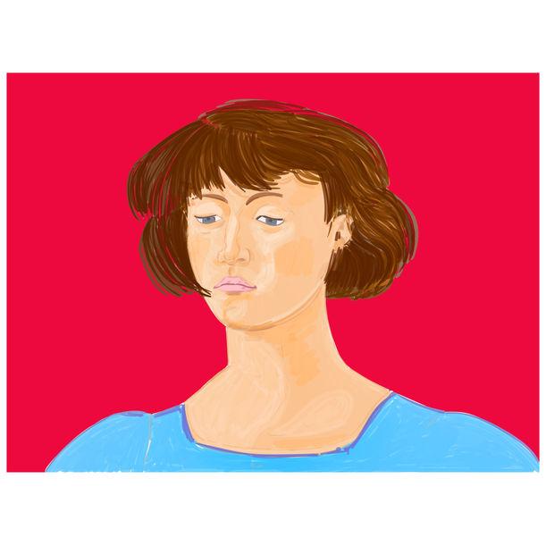 Girl on Red (after Piero della Francesca Madonna del Parto) by Mario Sughi