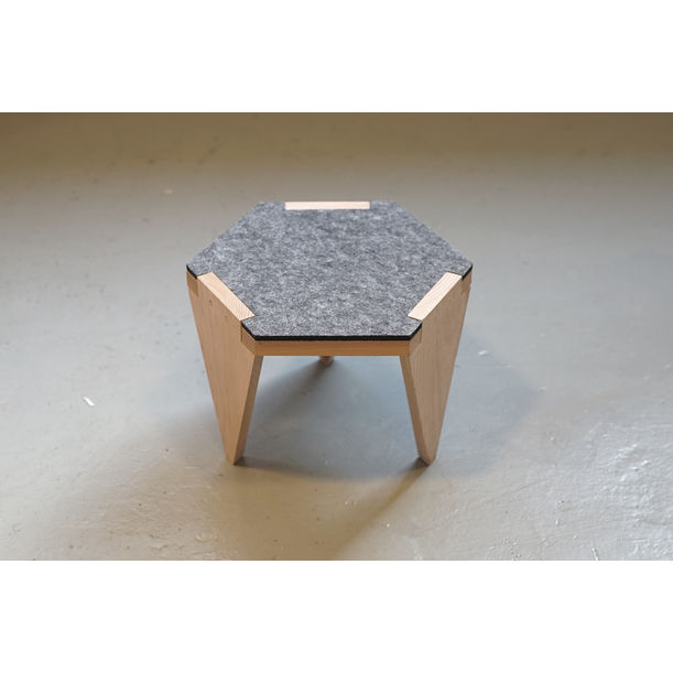 Hexa wood low stool - gray by Project-J