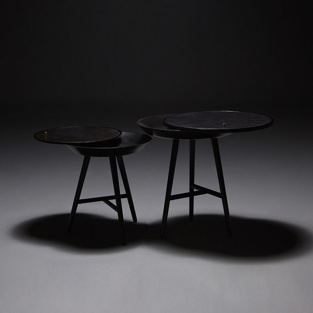 Black Dream Whirl Side Table(big) by Sheng Yin