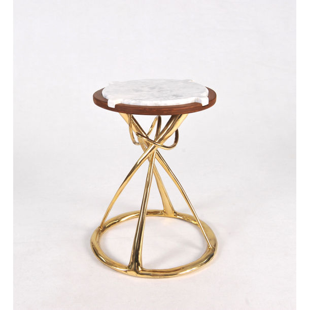 Hourglass Side Table (Brown) by Apiwat Chitapanya
