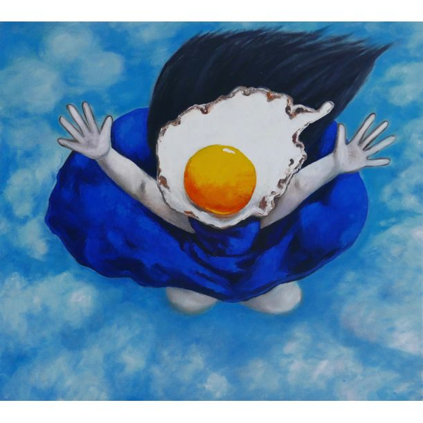 Flying Egg girl in blue by Ta Thimkaeo