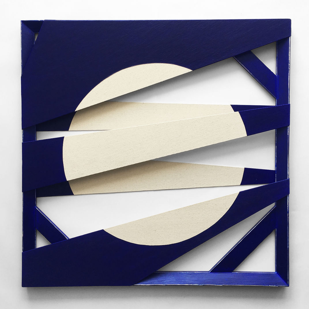 Split Canvas No:7 [Folded Negative Space Study (Deep Ultramarine)] by Otto Batuhan Turker