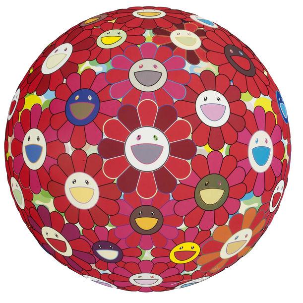 Flower Ball (3-D) Red Cliff by Takashi Murakami