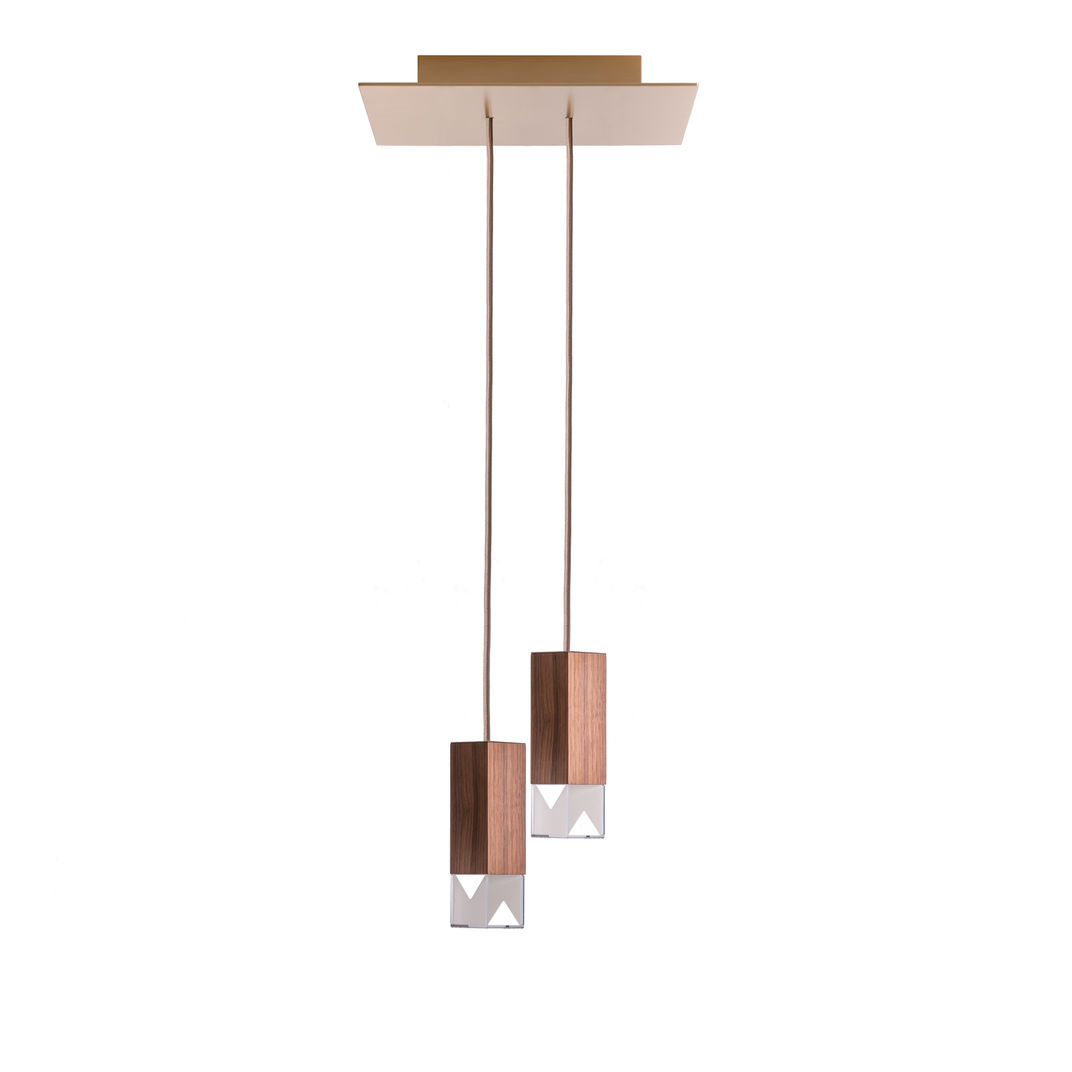 Lamp/One Wood Duet Chandelier by Formaminima