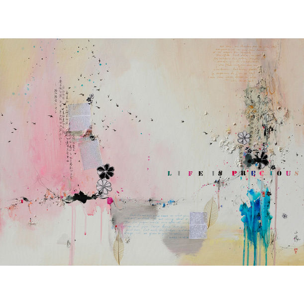 Life is precious IX, mixed media on canvas, 80x60cm by Xiaoyang Galas