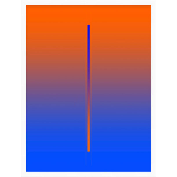 """Lunar Year"" - orange and blue minimalistic digital print by Pletneva"